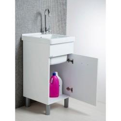 Mobile lavatoio 45x50 bianco opaco con vasca in ceramica e tavola in legno. - 2