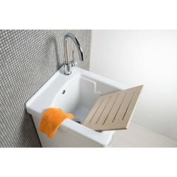 Mobile lavatoio 45x50 bianco opaco con vasca in ceramica e tavola in legno. - 1