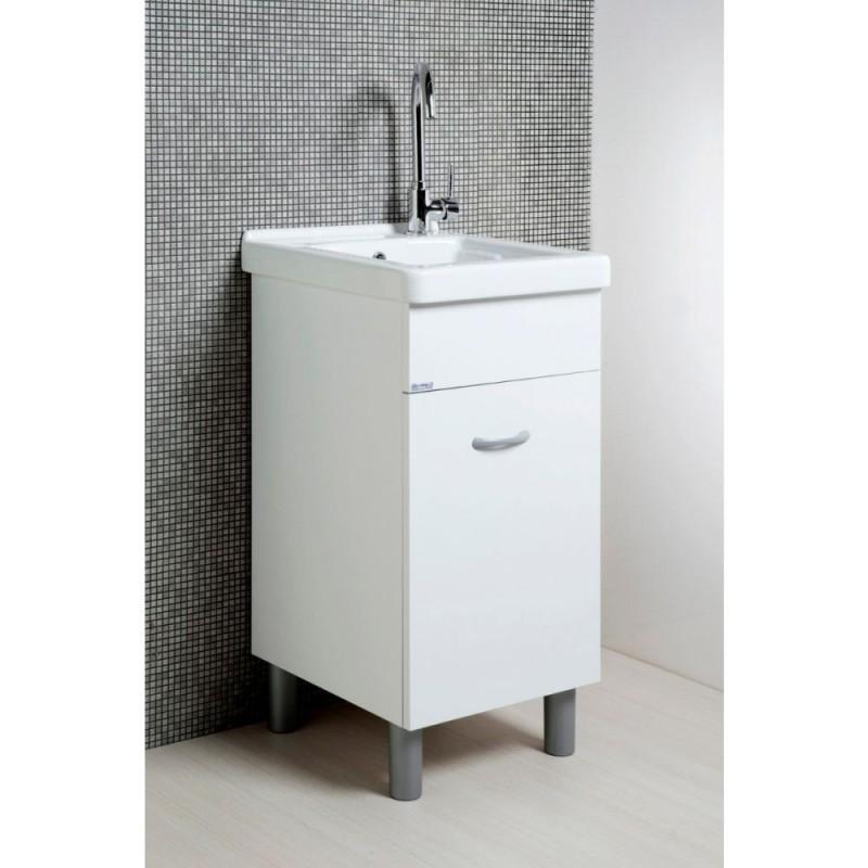 Mobile lavatoio 45x50 bianco opaco con vasca in ceramica e tavola in legno. - 3