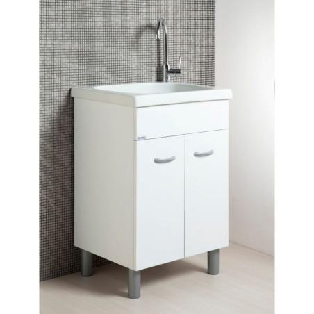 Mobile lavatoio cm 60x60 bianco opaco, completo di vasca in ceramica - 1