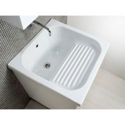 Mobile lavatoio cm 60x60 bianco opaco, completo di vasca in ceramica - 2