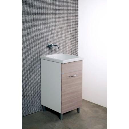 Mobile lavatoio 45x50 anta colorata, completo di vasca in ceramica con strofinatoio incorporato. - 1