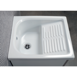 Mobile lavatoio 45x50 anta colorata, completo di vasca in ceramica con strofinatoio incorporato. - 13
