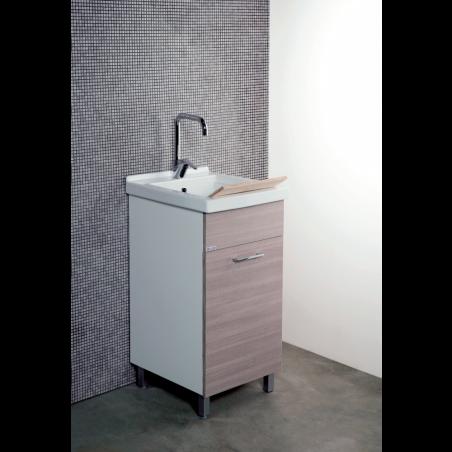 Mobile lavatoio 45x50 con vasca in ceramica e tavola in legno anta colorata - 1