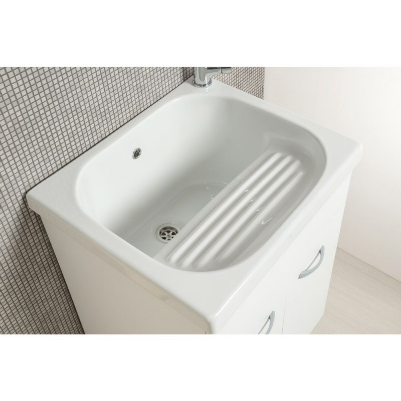 Mobile lavatoio 60x50 vasca in ceramica con strofinatoio incorporato - 1
