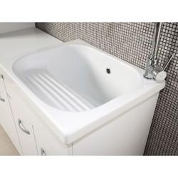 Mobile lavatoio 60x50 vasca in ceramica con strofinatoio incorporato - 3