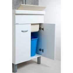 Mobile Lavatoio 60x50 con vasca in ceramica e tavola in legno colore bianco opaco - 1