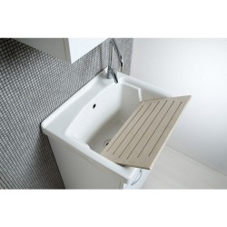 Mobile Lavatoio 60x50 con vasca in ceramica e tavola in legno colore bianco opaco - 2