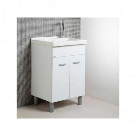Mobile Lavatoio 60x50 con vasca in ceramica e tavola in legno colore bianco opaco - 3