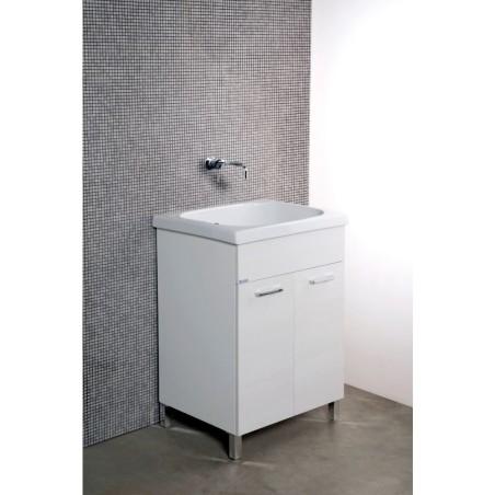 Mobile lavatoio 60x60  vasca in ceramica con strofinatoio incorporato ,ante colorate - 1