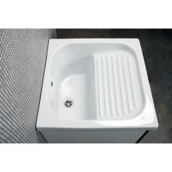 Mobile lavatoio 60x60  vasca in ceramica con strofinatoio incorporato ,ante colorate - 13