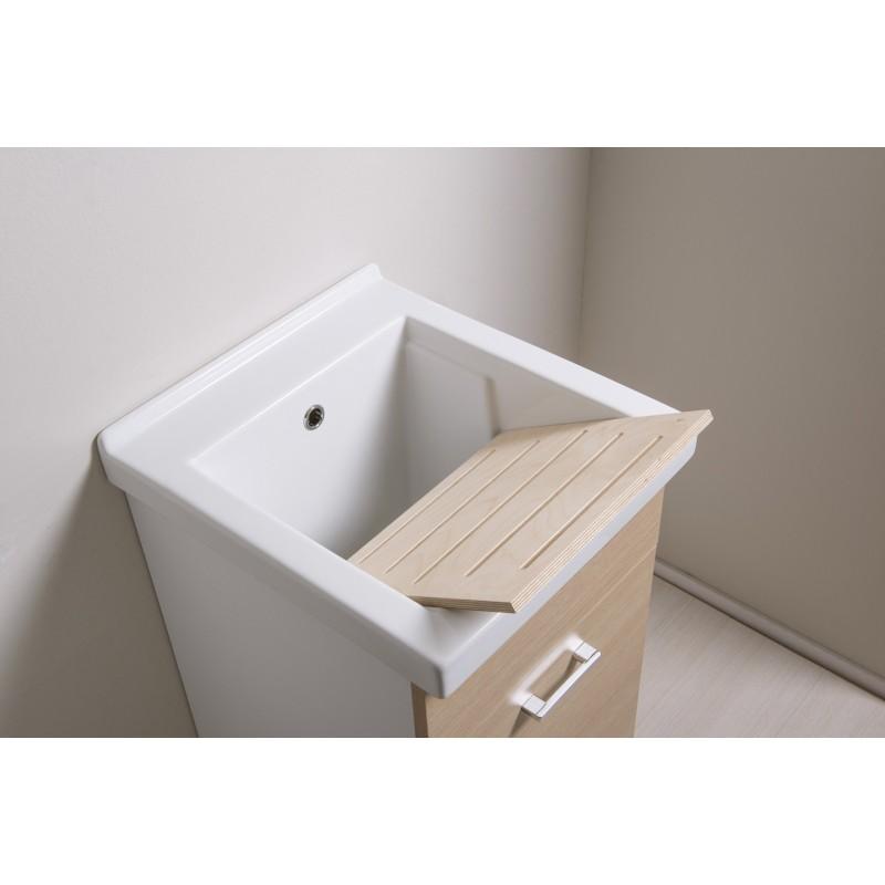 Mobile lavatoio 45x50 con vasca in ceramica e tavola in legno anta colorata - 11