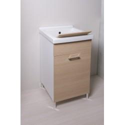 Mobile lavatoio 45x50 con vasca in ceramica e tavola in legno anta colorata - 12