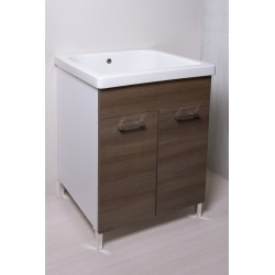 Mobile lavatoio 60x60  vasca in ceramica con strofinatoio incorporato ,ante colorate - 11